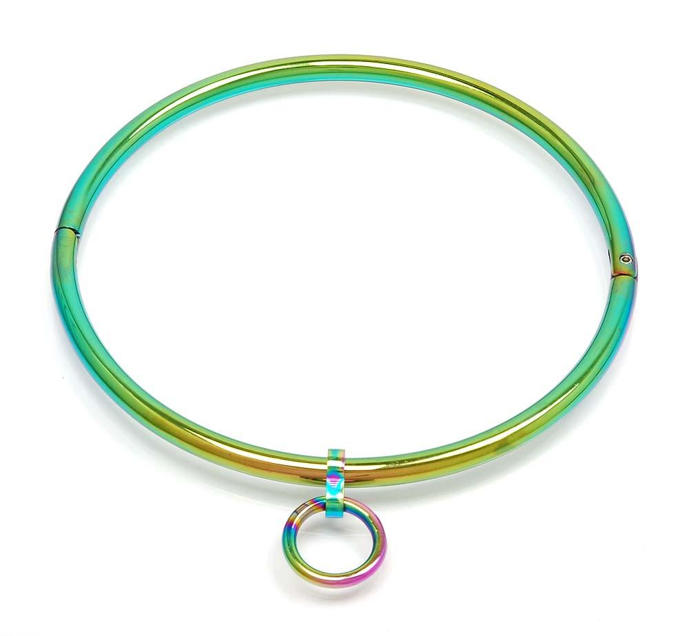 Kubind Halsfessel in Regenbogen Farben
